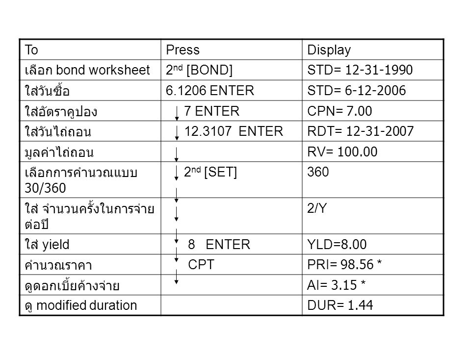 To Press. Display. เลือก bond worksheet. 2nd [BOND] STD= 12-31-1990. ใส่วันซื้อ. 6.1206 ENTER.